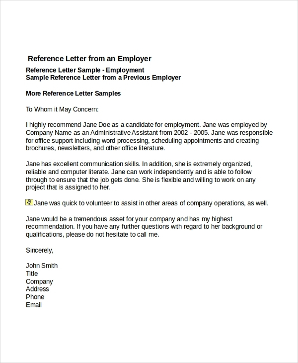 Recommendation Letter For Job Template Business