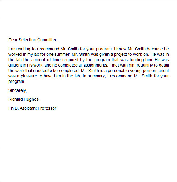 recommendation letter for job