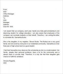 recommendation letter for scholarship letter of recommendation scholarship format