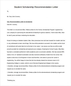 recommendation letter for student scholarship letter of recommendation for student scholarship