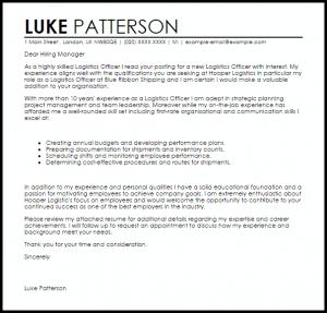 recommendation letter samples logistics officer