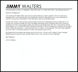 recommendation letter samples team leader