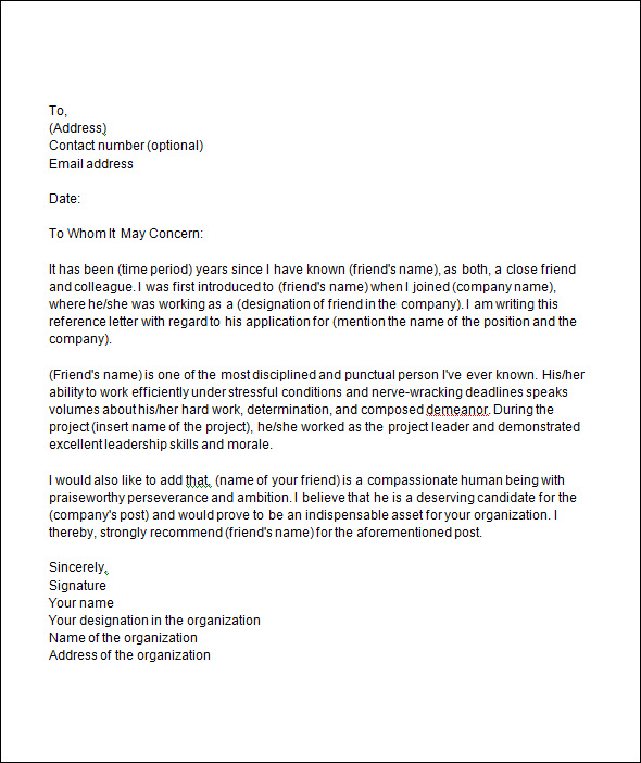 Recommendation Letter Template  Template Business
