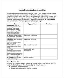 recruitment plan templates membership recruitment plan