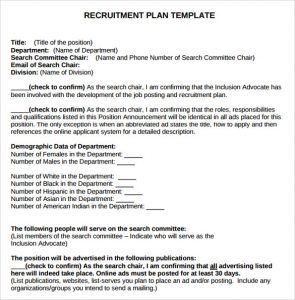 recruitment plan templates recruitment plan template