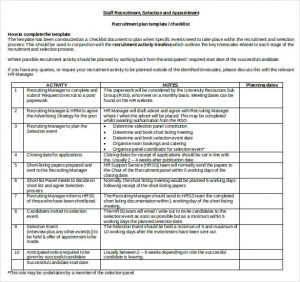 recruitment plan templates recruitment plan template checklist doc format free download