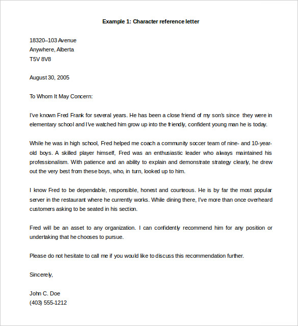 Reference Letter Template  Personal Letter Of Reference