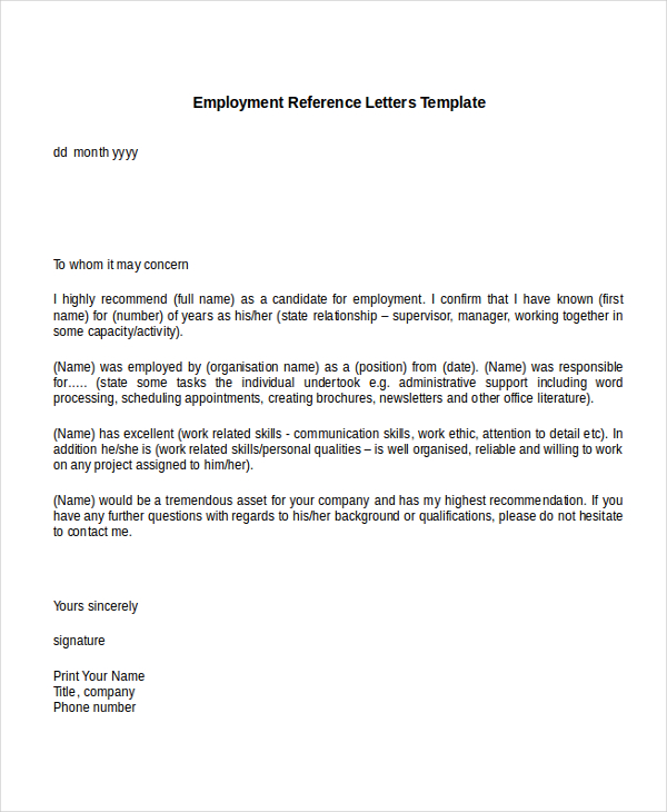 reference letters for employment