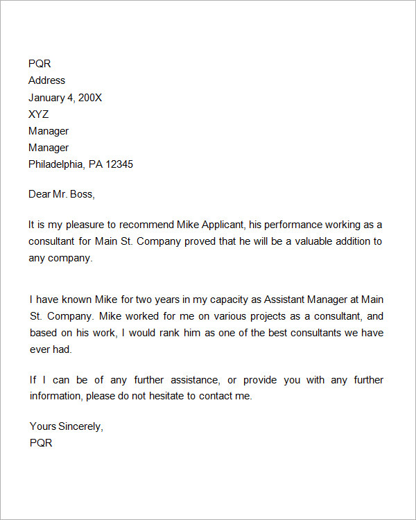Reference Letters For Employment  Template Business
