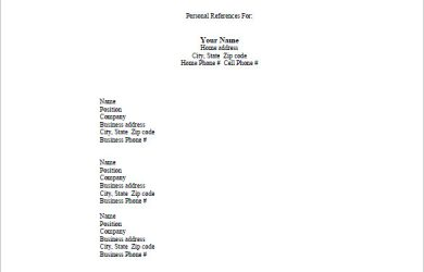 reference list template personal reference list template