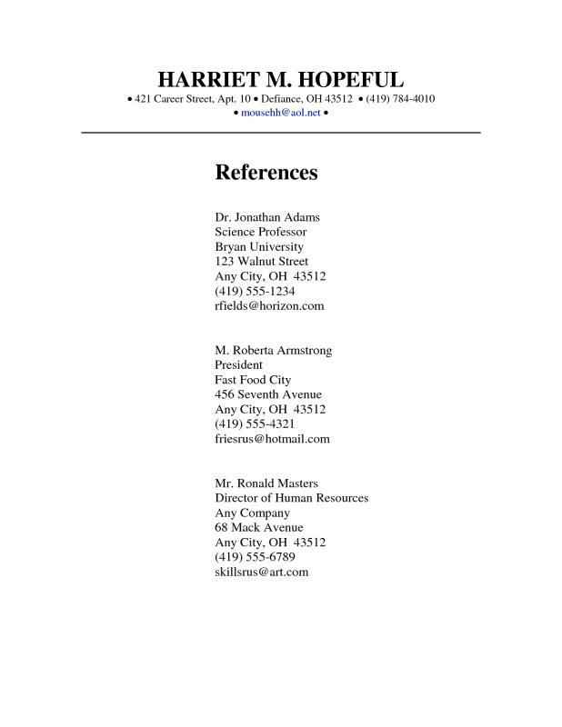 Reference Page Template  Example Of Reference Page For Resume