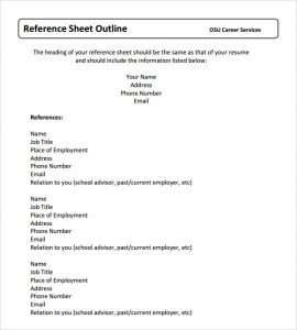 reference sheet template reference sheet example