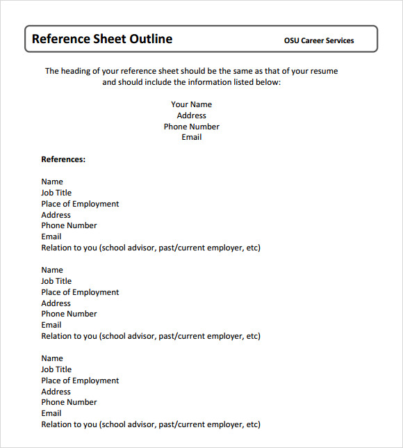 Reference Sheet Template  Professional Reference Sheet Template