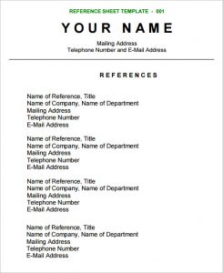 reference sheet template reference sheet template