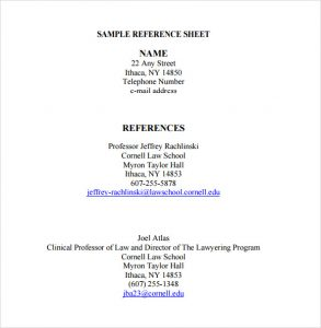 reference sheet template sample reference sheet template