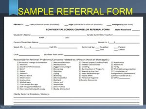 referral form templates referral and follow up guidance and counseling