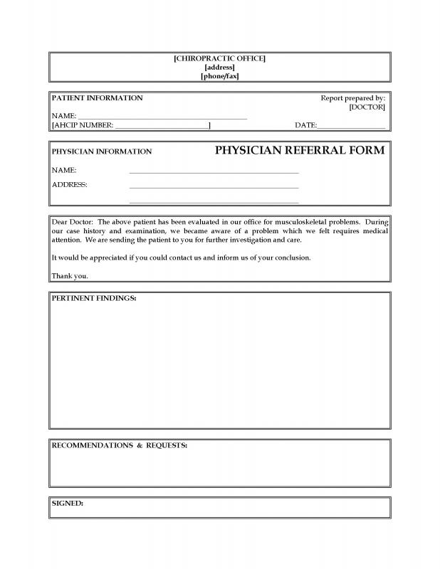 referral document template - referral forms template template business