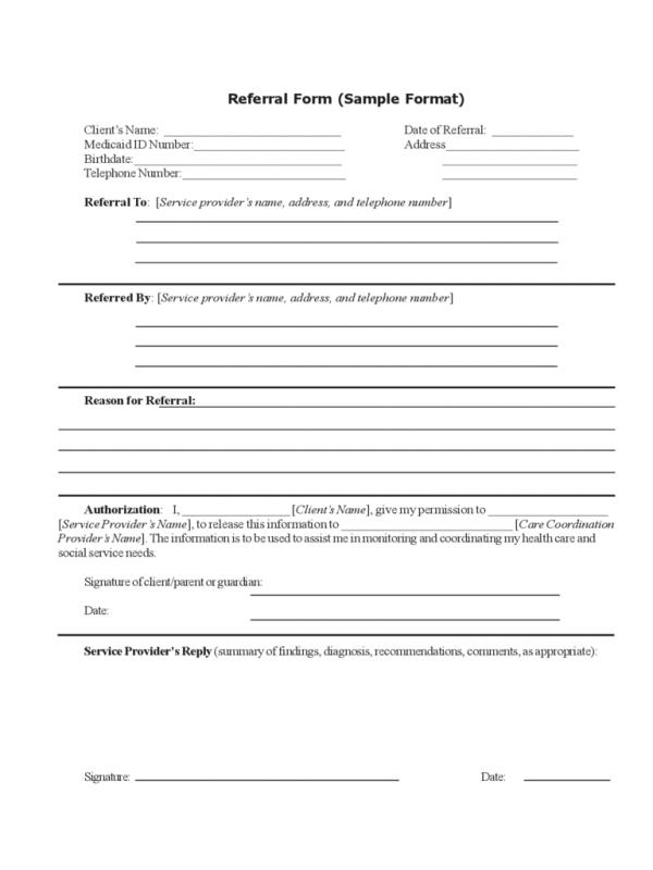 Referral Forms Template  Template Business