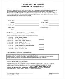 Registration Form Template Dance School Registration Form Template  Paper Registration Form Template