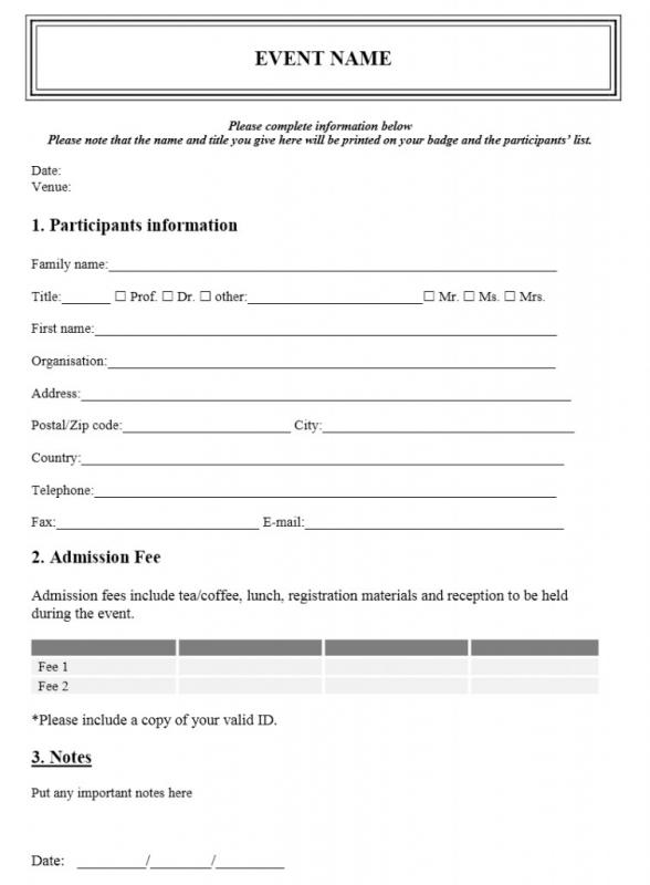 registration form template free