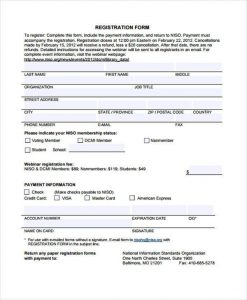 registration form template free printable registration form template