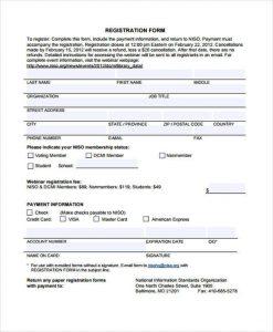 registration form template free printable registration form template