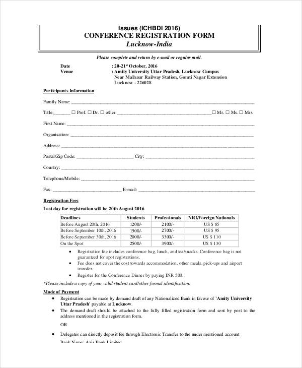 Registration form template template business for Sample workshop registration form template