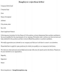 rejection letter template employee rejection letter