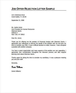 rejection letter template job rejection letter