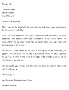 rejection letter template sample application rejection letter