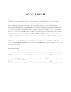 release form template model release template l