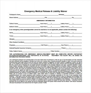 Medical liability for Release from liability form template