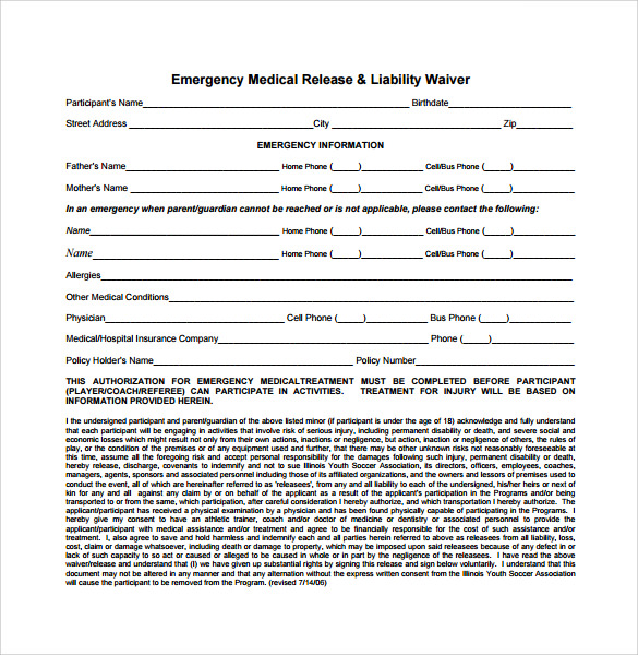 Release Of Liability Form  Liability Waiver Form