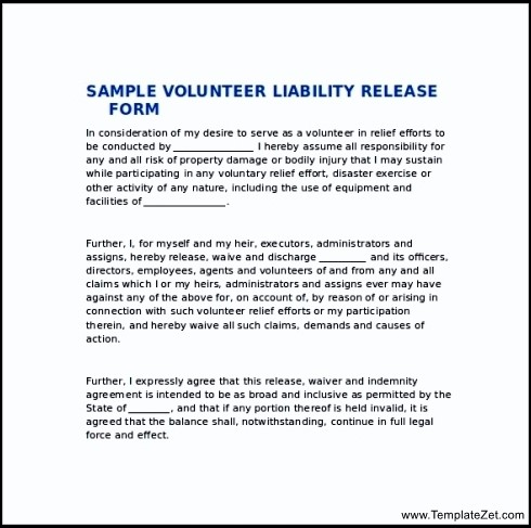 Release Of Liability Statement Sample Liability Release Form
