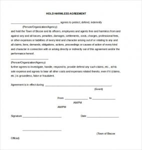 release of liability form pdf hold harmless agreement document template