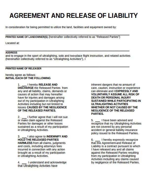 Release Of Liability Form | Template Business