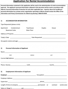 release of liability form template alberta application for rental accommodation form