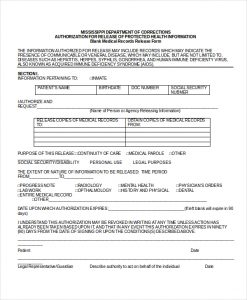 release of medical records form blank medical records release form