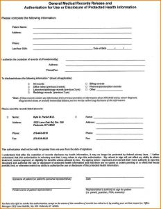 release of medical records form template business