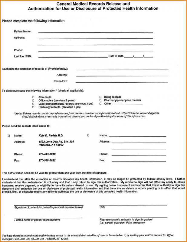 Blank Medical Records Release Form Acurnamedia