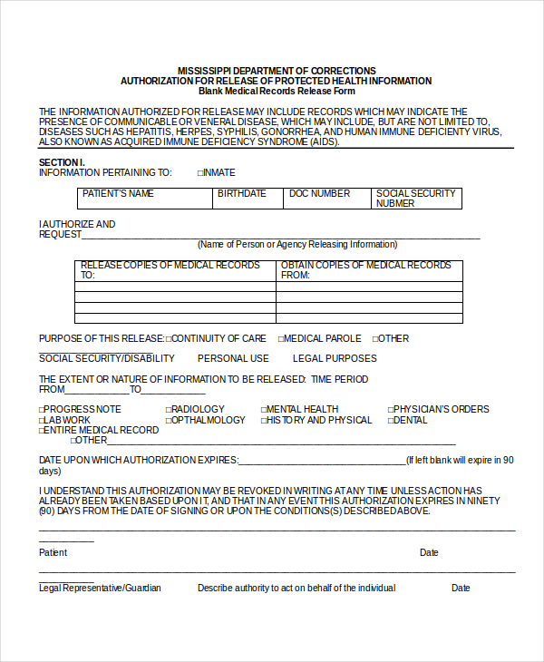release of medical records form