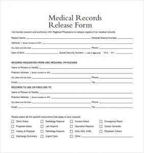 release of medical records form medical records release form example