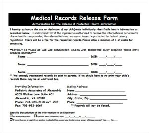 release of medical records form medical records release form pdf