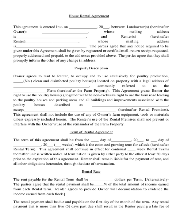 Rent Contract Simple  Template Business