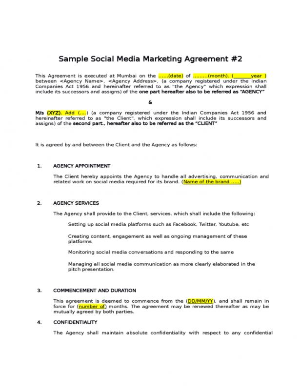 Pretty Sample Marketing Agreement Gallery  Resume Ideas  BayaarInfo