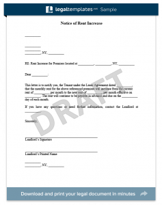 rent increase letter template notice of rent increase