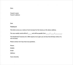 rent increase letter template rent increase notice letter