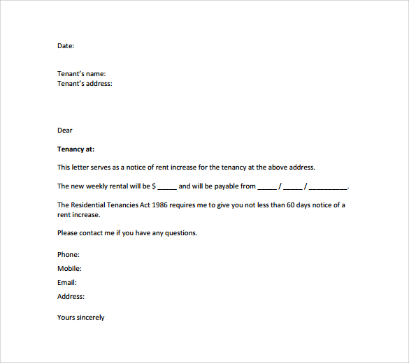 rent increase letter template