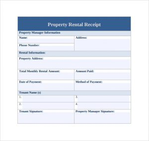 rent paid receipt property rent receipt template