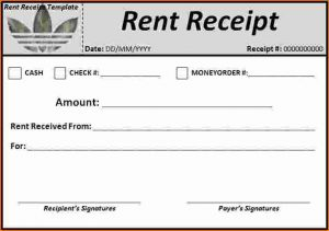 rent paid receipt rent receipt word rent receipt template
